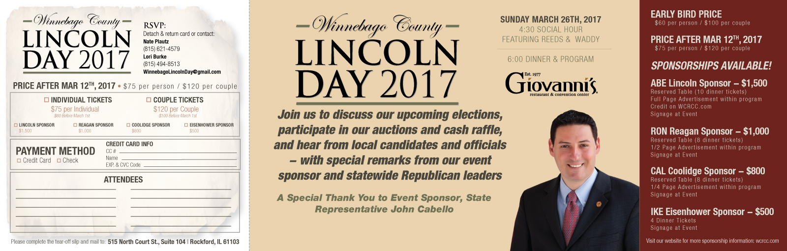 2017 LINCOLN DAY DINNER AND PROGRAM — MARCH 26, 2017!!